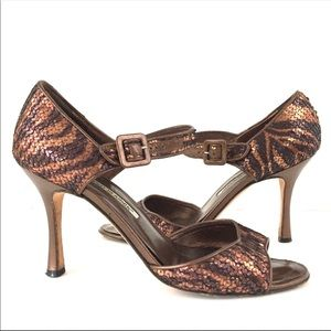 Manolo Blahnik Shoes - Manolo Blahnik copper metallic sequin leather heel